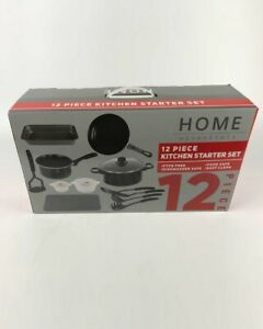 12 PC Kitchen Cookware Set Carbon Steel Starter Set Non Stick Pots Pans Utensils