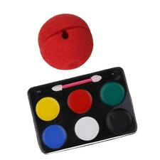 Face Body Painting Set Party Palette Stick Kit Red Sponge Clown Circus Nose