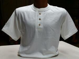 White 3 Button Henley 7.2 oz 100% cotton