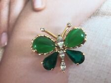 Uk Seller High Quality Beautiful Green ButterFly Brooch With Sparkly Rhinestone