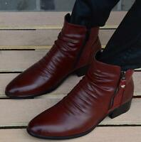 British Oxford Men's Pointed Toe Side Zip Dress Formal Chunky Ankle Boots Shoes