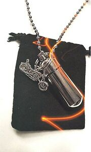 """Motorcycle PILL HOLDER on 24"""" Ball Chain NECKLACE with Waterproof Vial"""