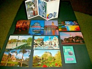 DISNEY'S EPCOT CENTER - POST CARDS + FOLDER + 1983 TICKET- LOT OF 11