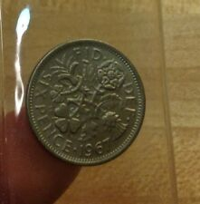 1967 BU 6 Pence UK, England, BRITISH, Great Britain, THE WEDDING COIN