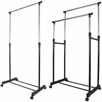 Garment Rack Single Or Double Silver Adjustable Portable Clothes Rail Stand