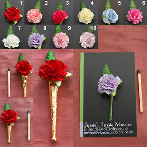 """1x CARNATION POSY: Tussie Mussie Flowers for """"Poirot"""" Lapel Pin/Brooch Vases"""