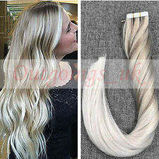 Ombre #18#60 Human Hair Extensions Tape in Remy Hair Extension Straight 20PCS