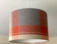 New Tartan Pendant Light Lamp Ceiling Shade Red Orange Grey Fabric Material Drum