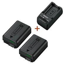 New Original Genuine Sony Li-Ion Battery Pack 2pcs NP-FW50 + BC-TRW Charger Set