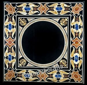 15 Inches Black Marble Side Table Top Square Coffee Table with Pietra Dura Art