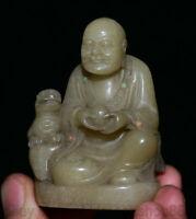"""2 """"Chine  Sculpture Sur Pierre Arhat Lohan Statue De La Bête De Bouddha"""