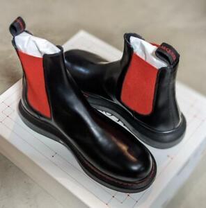 $690 Mens Alexander McQueen Platform Chelsea Leather Boots Black/Red 43 US 10