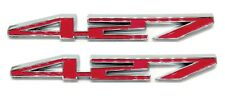 Red & Chrome Hood 427 Emblem Badge Pair Replacement for Factory Gm Part 17803320