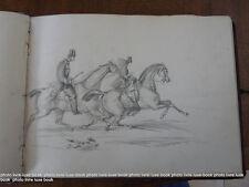 Cahier dessins originaux vers 1850 chevaux chateaux maisons caricatures Le lude