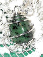 Collana con ZOISITE cristalloterapia zen chakra mineral argento pietre unisex
