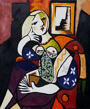"""Repro 20""""x24"""" Handmade Pablo Picasso Oil Painting on Canvas - Woman with Book"""