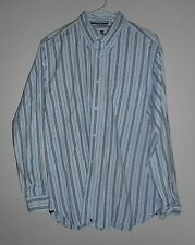 EUC  Gap Factory Store Long Sleeve Blue Striped Cotton Shirt Button Front Size L