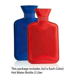 2Ltr Hot Water Bottle-2Pk,Natural Warmer Rubber Plain Pill Shape Leakproof Lid