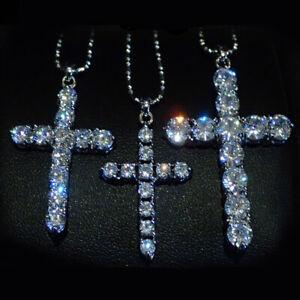 Cross Pendent Necklace, CZ Bling, Cubic Zirconia Crucifix, Small Medium Large