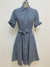 Calvin Klein NWT Modern INDIGO/WHITE Gingham Cotton Shirt dress, size 2