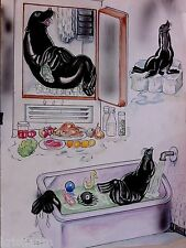Older Watercolor of Seal Hanging out in a Refrigerator and Taking a Bath