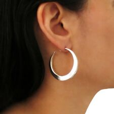 Hoops 925 Sterling Silver Square Edge Circle Earrings Gift Boxed