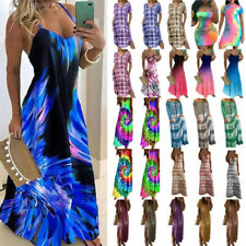Plus Size Womens Beach Tie Dye Summer Boho Dress Party Maxi Casual Long Sundress