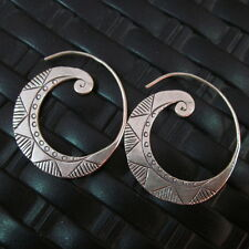 Silver Earrings Hill Tribe Handcraft Ethnic Artisan Spiral Curve er040