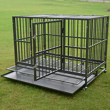 """48"""" 3XL Heavy Duty Dog Cage Strong Metal Pet Crate Kennel Playpen w/ Wheels&Tray"""