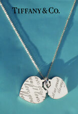Tiffany & Co Sterling Silver NOTES Let Me Count The Ways Double Heart Necklace