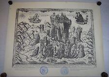 Antique Engraving Monastery of Transfiguration METEORA Monk Parthenios Elassona