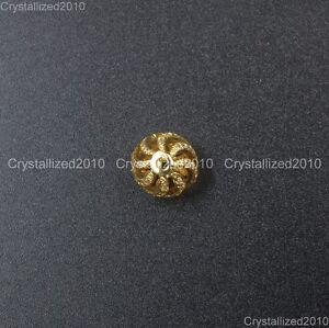 CZ Zircon Gemstones Pave Hollow Round Spacer Bracelet Connector Charm Beads 10mm