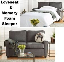 Gray Loveseat Sofa Sleeper & Memory Foam Mattress Grey Sofa Beds Small Spaces