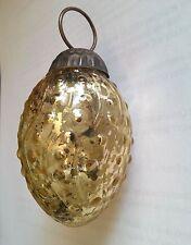 Luna Bazaar Gold Dotted Egg Mercury Glass Ornament