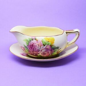 Royal Winton Small Pink Roses Sauce Boat & Under Plate Patt 494 Vintage England