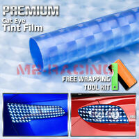 "12""x48"" Cateye Style Light Blue Tint Headlight Taillight Fog Light Vinyl Film"