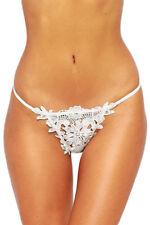 Women Crochet Thong Panties White Lace Floral Underwear Size UK 8-12
