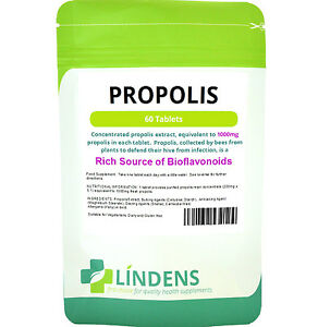 Propolis 1000 mg one-a-day immune health cough cold flu 60 tablets Lindens