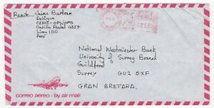 1988 PERU Air Meter Mail Cover LIMA to GUILDFORD GB Nat West Bank