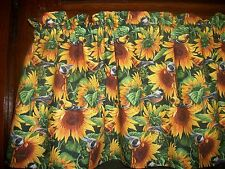 Sunflowers Flowers Birds fabric kitchen curtain window topper Valance