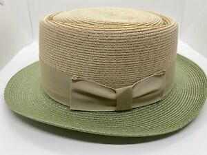 Biltmore 57cm 7 1/8 telescope Milan straw hat pork pie fedora mint / Nat Medium