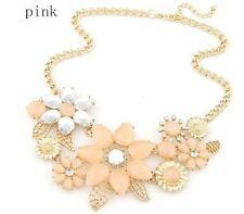 Womens Gold Flower Pink Crystal Gem Charm Pendant Chain Necklace UK Seller