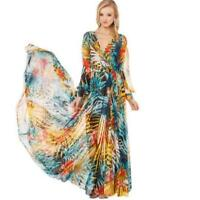 Womens Floral Printed Chiffon Long Maxi Dress Hawaii Summer Beach Dresses sz hot