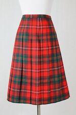 Vintage Pendleton Pleated A-Line Red Tartan Plaid wool Skirt XS New old Stock