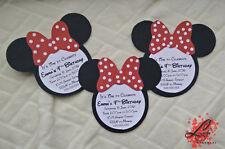 Set of 5 Handmade Minnie Mouse Birthday Invitation or Baby Shower Invitations