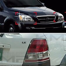Chrome Head Light Molding Rear Lamp Garnish Cover 4Pcs For KIA 2003-2006 Sorento