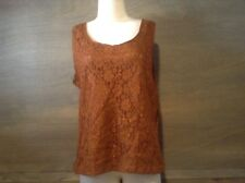 WOMENS OXFORD SPORT BROWN LACE TANK TOP SIZE 18 SLEEVLESS SHEER BACK TOP