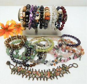 STONE, GLASS, ABALONE & CRYSTAL BEAD BRACELET LOT - VINTAGE TO NOW
