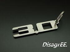 """Schlüsselanhänger """"3.0"""" 3,0 3 Liter Z4 E85 E86 Z3 X5 M54 B30 Edelstahl gebürstet"""