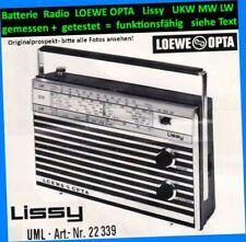 SET Batterie+Trafo+Antik Radio Lissy LOEWE OPTA 33229´69 UKW MW LW 50yo vintage